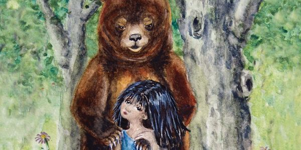 Shamanic Journey Image, Guardian Bear with Girl, Storybook Forest, Woodland Animal, Magical Bear