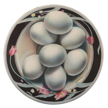 Quinones cleverly generates this Photorealistic  painting of eggs appearing to pop off the canvas