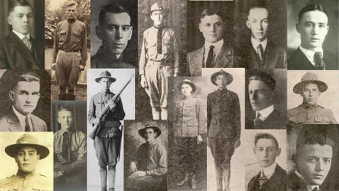Collage of WWI Soldiers known as the Rain Day Boys.