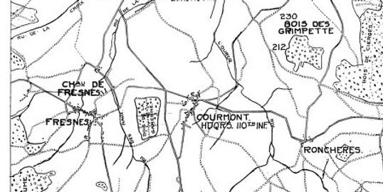 WWI military map showing Hill no. 212 and Grimpettes Woods, the area where the Rain Day Boys fought.