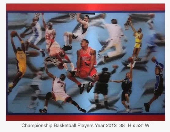 This is a one of a kind lenticular 3D framed picture of the championship basketball players.