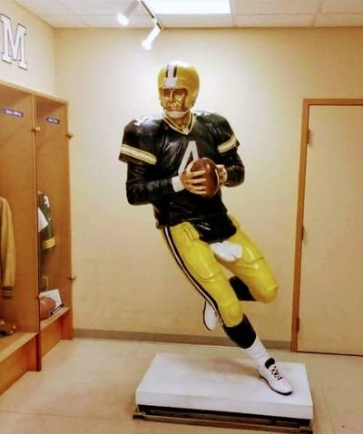 NFL Quarterback Brett Favre statue display at Mississippi Sports Hall of Fame/Museum in Jackson, MS