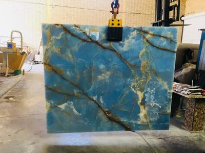 Blue Onyx Slabs from Royal Stone & Tile. A Tile Store in Los Angeles with large slab yard