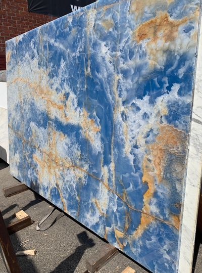 Blue Onyx Slabs Blue Jade Onyx Slabs in Los Angeles at Royal Stone. Exotic and translucent blue jade