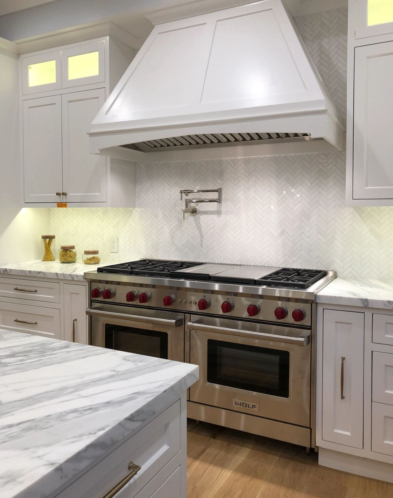 - Thassos White Marble Herringbone Kitchen Backsplash