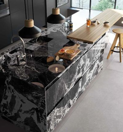 Black Porcelain Slab Kitchen with the look of Negro Marquina Marble Slabs installed island.