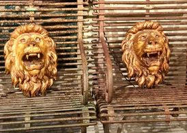 Pair of Carved Gilt 19th Century Lion Heads