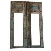 A Pair of 19th Century French Blue Doors With Good Hardware