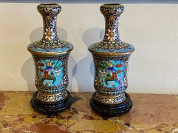 19th Century Chinese Cloisonné Vases-a Pair