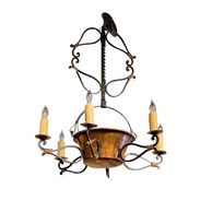 French Iron and Copper Pot Fixture  New Construction from 19th Century Pieces and Parts