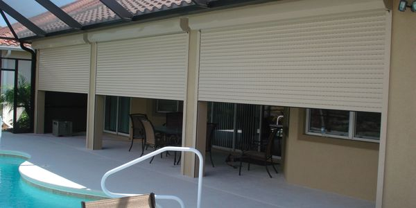 Rolling shutters on patio