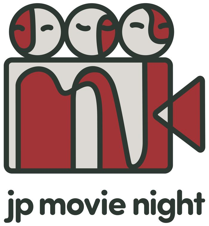 JP Movie Night Logo. It's amalgam of three people, a projector. The initials JPMN are embedded.