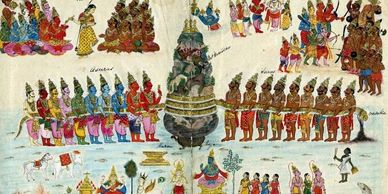 The Churning of the Milky Ocean (Samudra Manthan) - Vishnu  carrying the Kumbha/Amrita of the Gods.