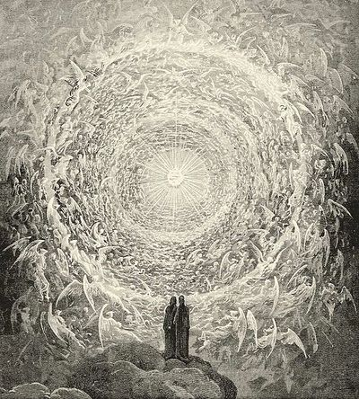 Dante & Beatrice gaze upon the highest Heaven (The Empyrean) - Gustave Doré - Paradiso Canto 31