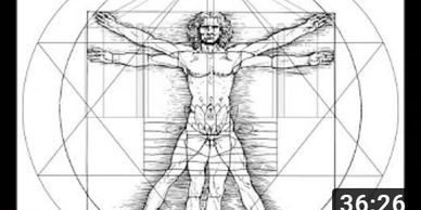 Leonardo's Vitruvian Man within the Mother's Temple and Sri Aurobindo's Symbol. (Video clip)
