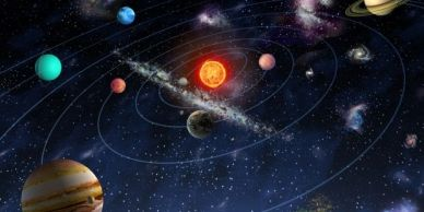 Solar System - central Sun and orbiting planets.