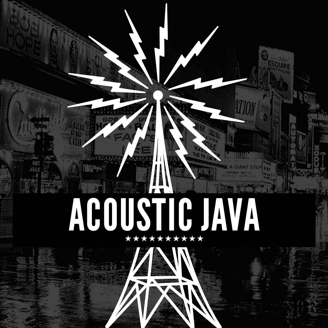 Acoustic Java graphic showing radio free europe tower signifying beacon
