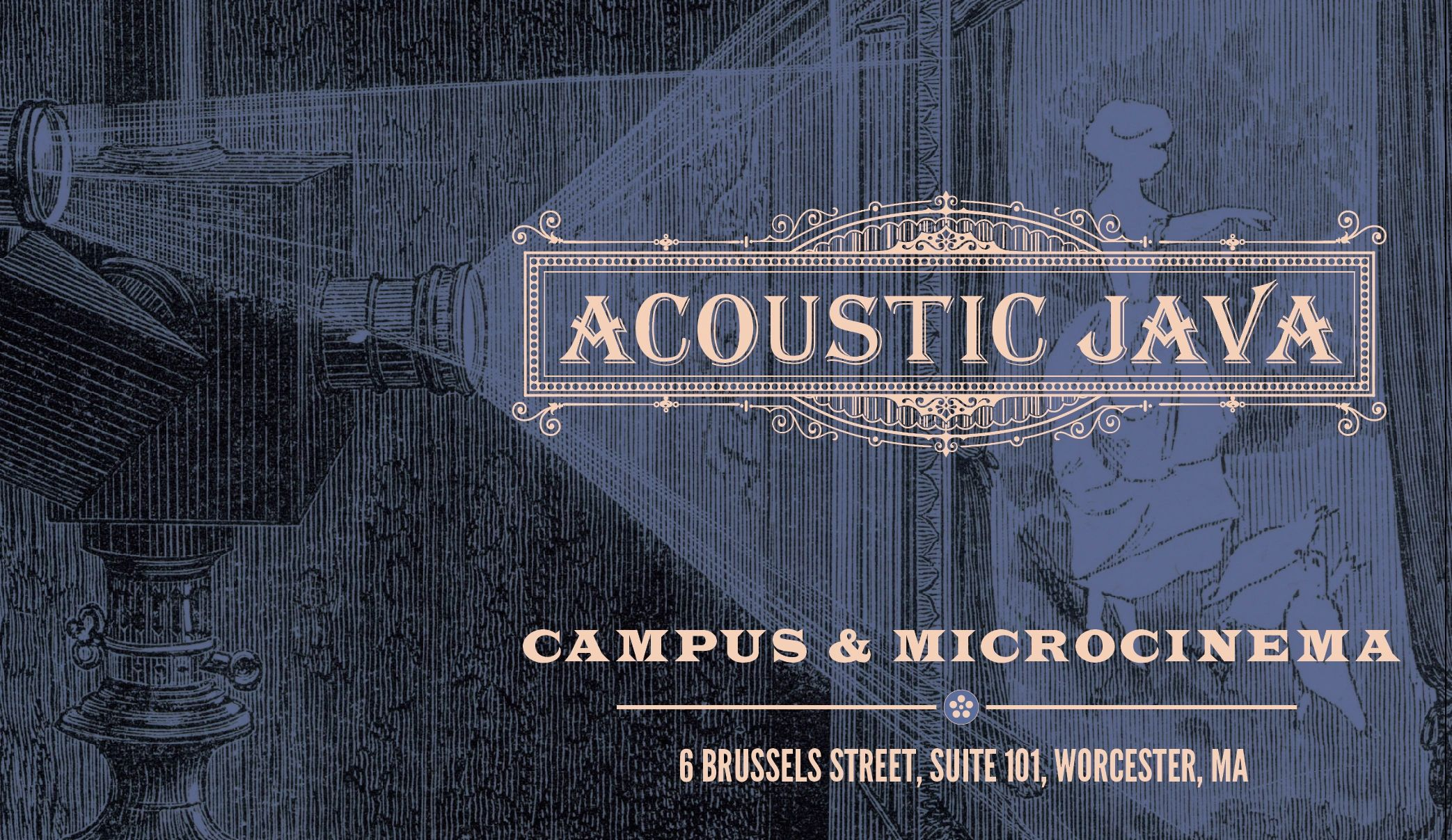 Acoustic java campus and microcinema image of a lady feeding birds cast on a screen by an early movi