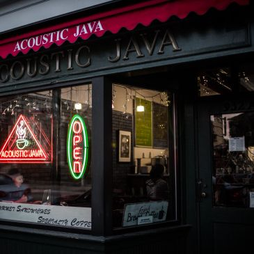 Acoustic Java Coffee Shop on Main Street in Worcester, MA
