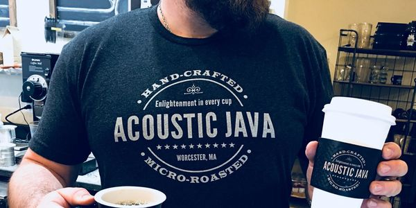 Acoustic Java Coffee Shop Shirt, Mug, and Coffee Cup