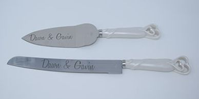 custom engraved cake knife and server