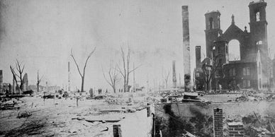 Image of St. Joseph's church in Salem after the Great Fire of 1914