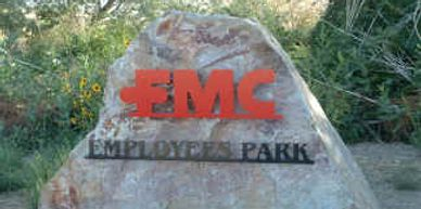 I built metal lettering that anchored into this landscaping boulder for FMC Corporation.