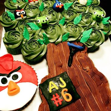 cupcakes, theme, party, angry birds