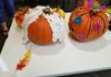 Back view of wolf pumpkin and Lacey and Cadi's pumpkin