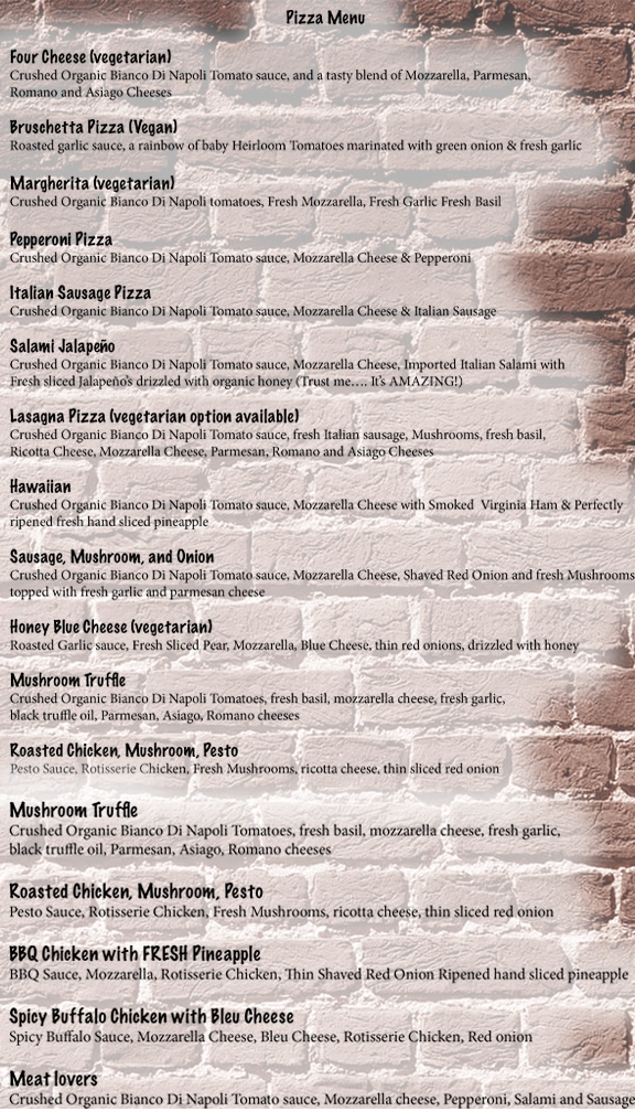 Pizza Menu for Inferno WoodFired Pizza Kitchen. Vegan, vegetarian and gluten free options available.