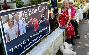 Bob Carr Senate Campaign Banner on Mackinac island