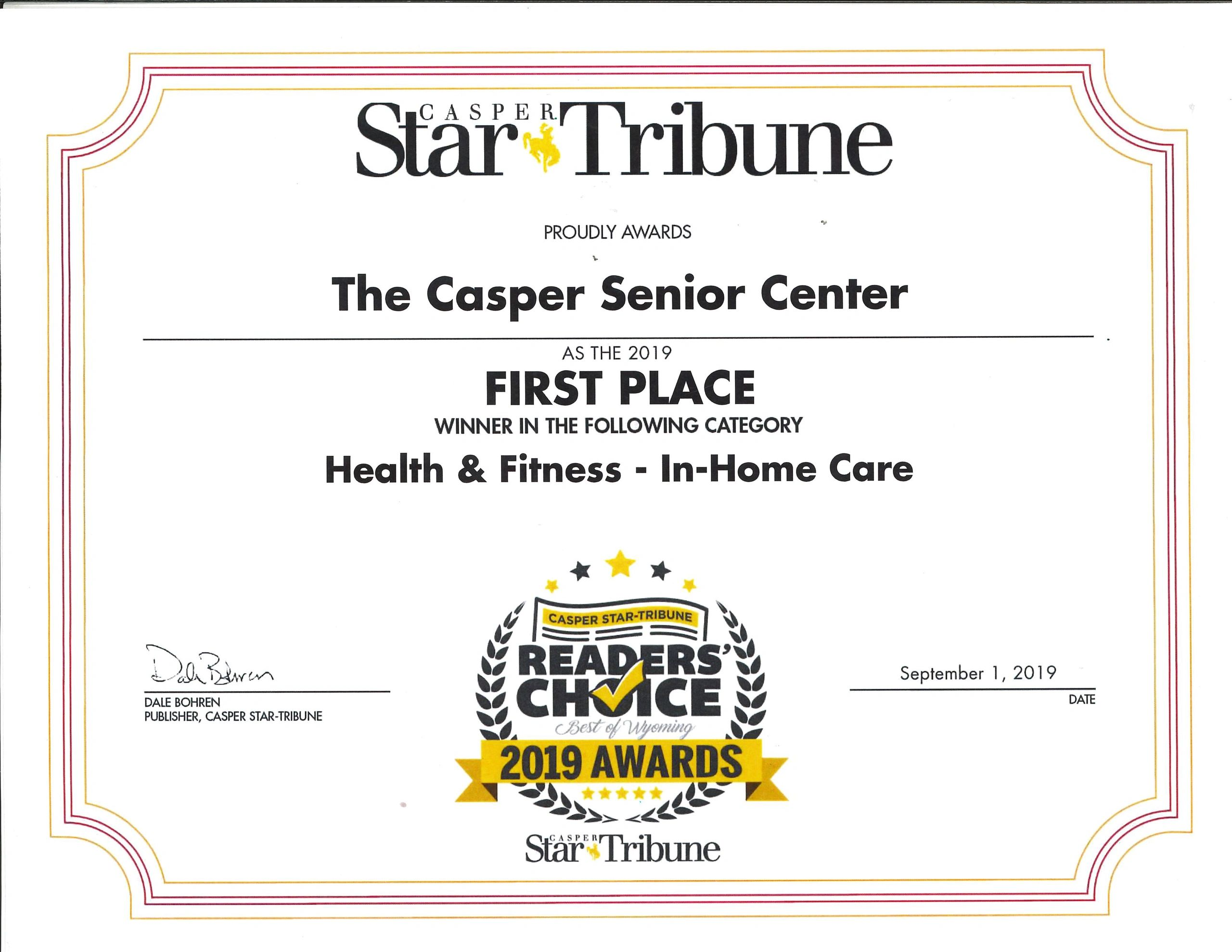 2019 Casper Star Tribune Readers' Choice First Place In-Home Care Provider