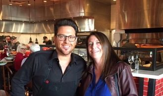 Shoshana Leon with Mora Italian chef and Food Network personality Scott Conant
