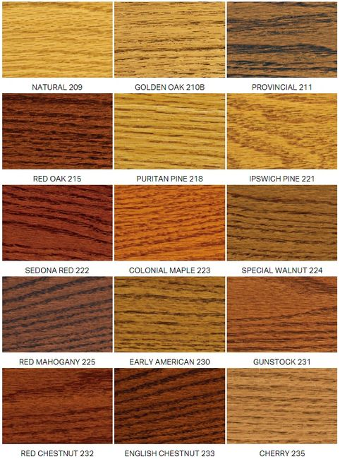 Minwax stain colors that we offer.