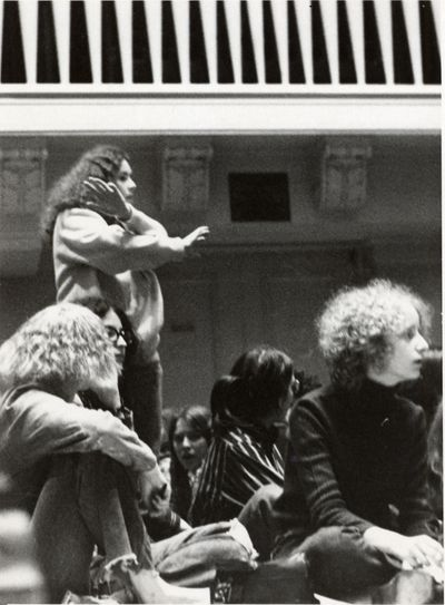 Michigan women take over the stage of Hill Auditorium during the October 1970 Teach-in On Women