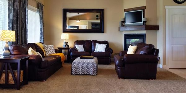 decluttered and organized living room in Utah.  Staged to sell.  Home staging.  Staged living room.