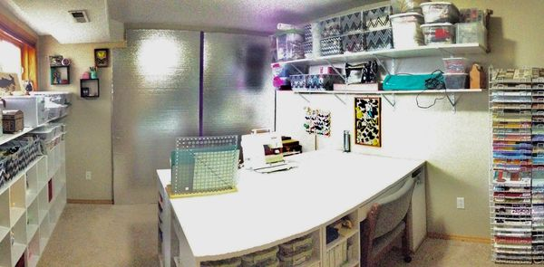 A decluttered and organized home office and craft room.  beautiful organized craft room in Utah.