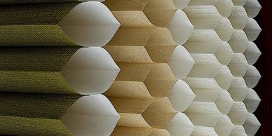 Honeycomb shades.  Cellular shades.  Energy efficient shades.  Soft and sublte yet very durable.