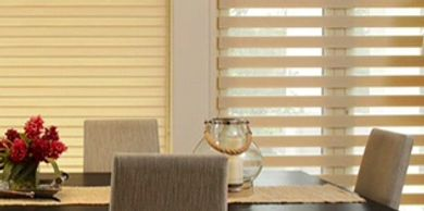 Duo shades, dual roller blinds, zebra blinds.