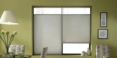 Top down bottom up shades. Shades that let top go down & bottom go up.  In the middle of the window.