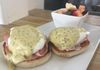 Sunday Brunch, eggs benedict with a bearnaise hollandaise sauce over smoked ham on an English Muffin or fresh croissants