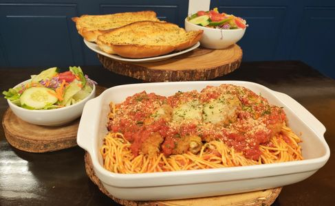 Catering suggestion: SM Tray of Chicken Parm with Spaghetti Garlic Bread Garden Salad