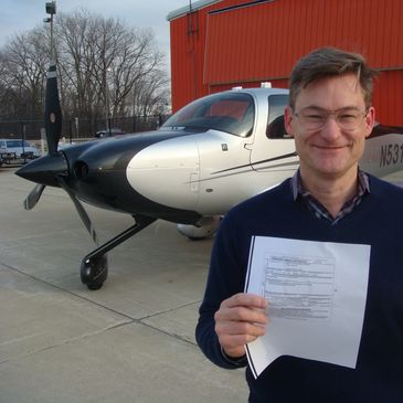 A private pilot student getting his private certificate.