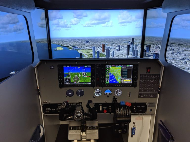 The Frasca RTD FAA-approved simulator. This unit is the Piper Seminole G1000NXi configuration.