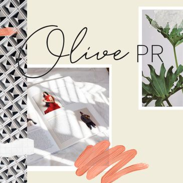 Magazine and plant collage image with Olive PR logo