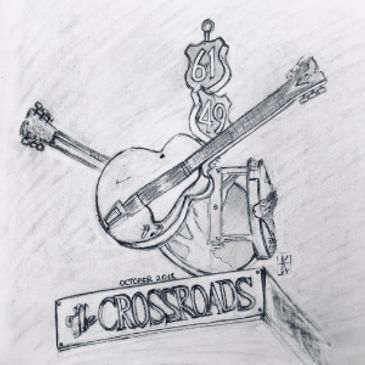 The legendary crossroads at Clarksdale, Mississippi. Pencil drawing.