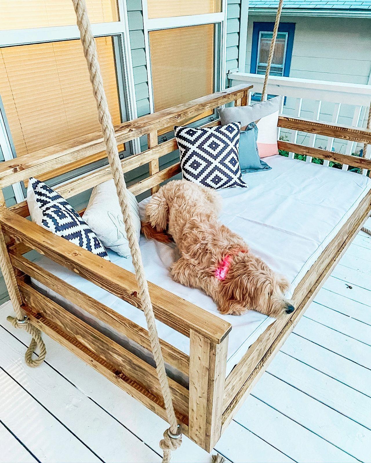 Diy Twin Mattress Front Porch Swing