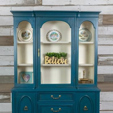 Repainted Ocean Blue China Cabinet