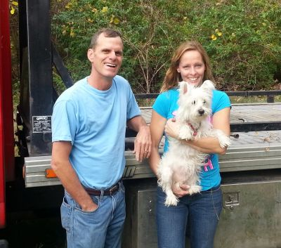 Owner Jay and his wife and dog