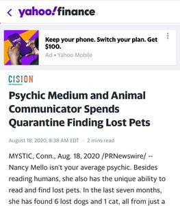 """Psychic medium an animal communicator Spence quarantine finding lost pets"" -Yahoo Finance 8/18/20"